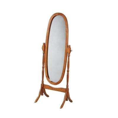 59.25 in. x 22.5 in. Oak Wood Framed Cheval Mirror