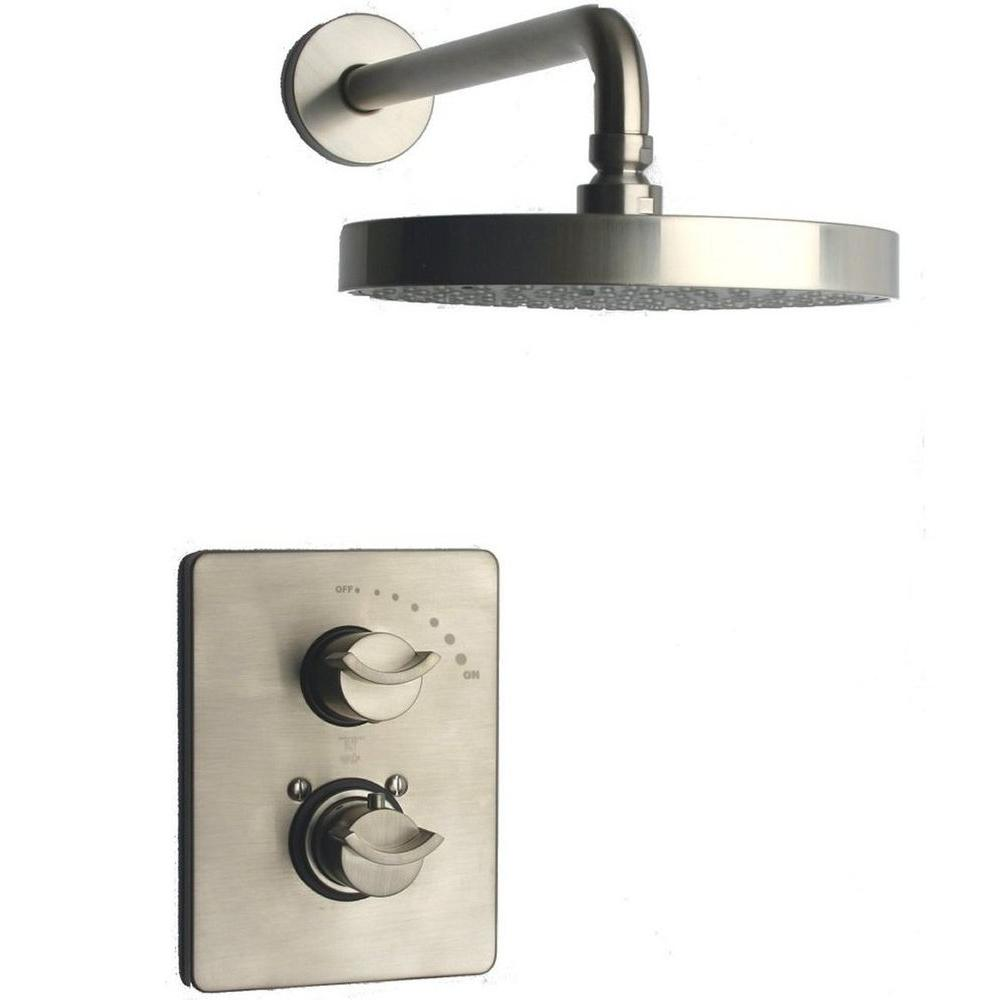 LaToscana Morgana 2 Handle 1 Spray Shower Faucet In Brushed Nickel (Valve  Included