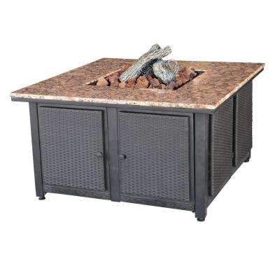 41.3 in. x 22.4 in. Square Granite Mantle Propane Gas Fire Pit with Faux Wicker Panels