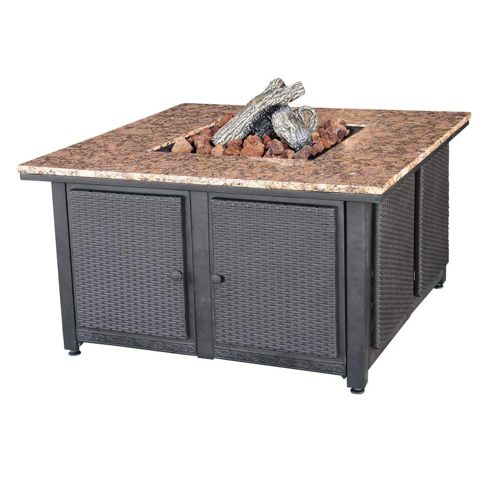Endless Summer 41.3 in. W x 22.4 in. H Square Granite Mantle LP Gas Fire Pit with Faux Wicker Panels and Electronic Ignition