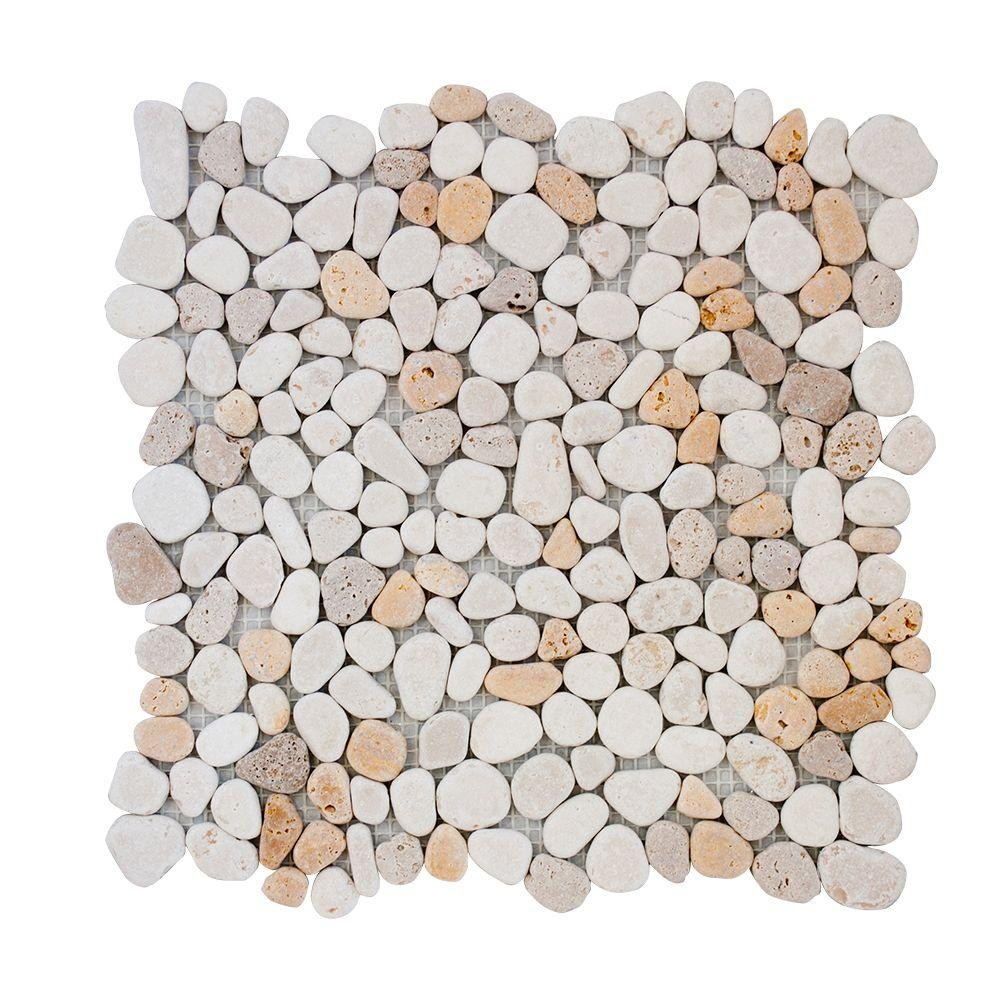 Jeffrey Court Creama River Rock Mosaic 12 in. x 12 in. x 10 mm Marble Mosaic Wall Tile