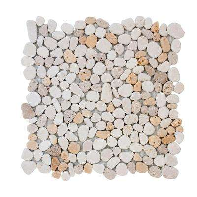 Creama River Rock 10.75 in. x 10.75 in. x 10 mm Marble Mosaic Wall Tile