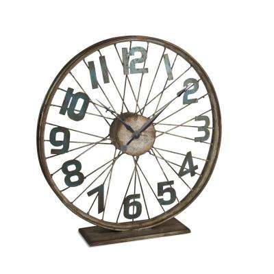 16 in. D Brown Bicycle Table Wheel Clock