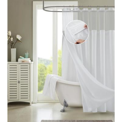 Hotel Complete 72 in. White Textured Waffle Shower Curtain with Detachable Liner