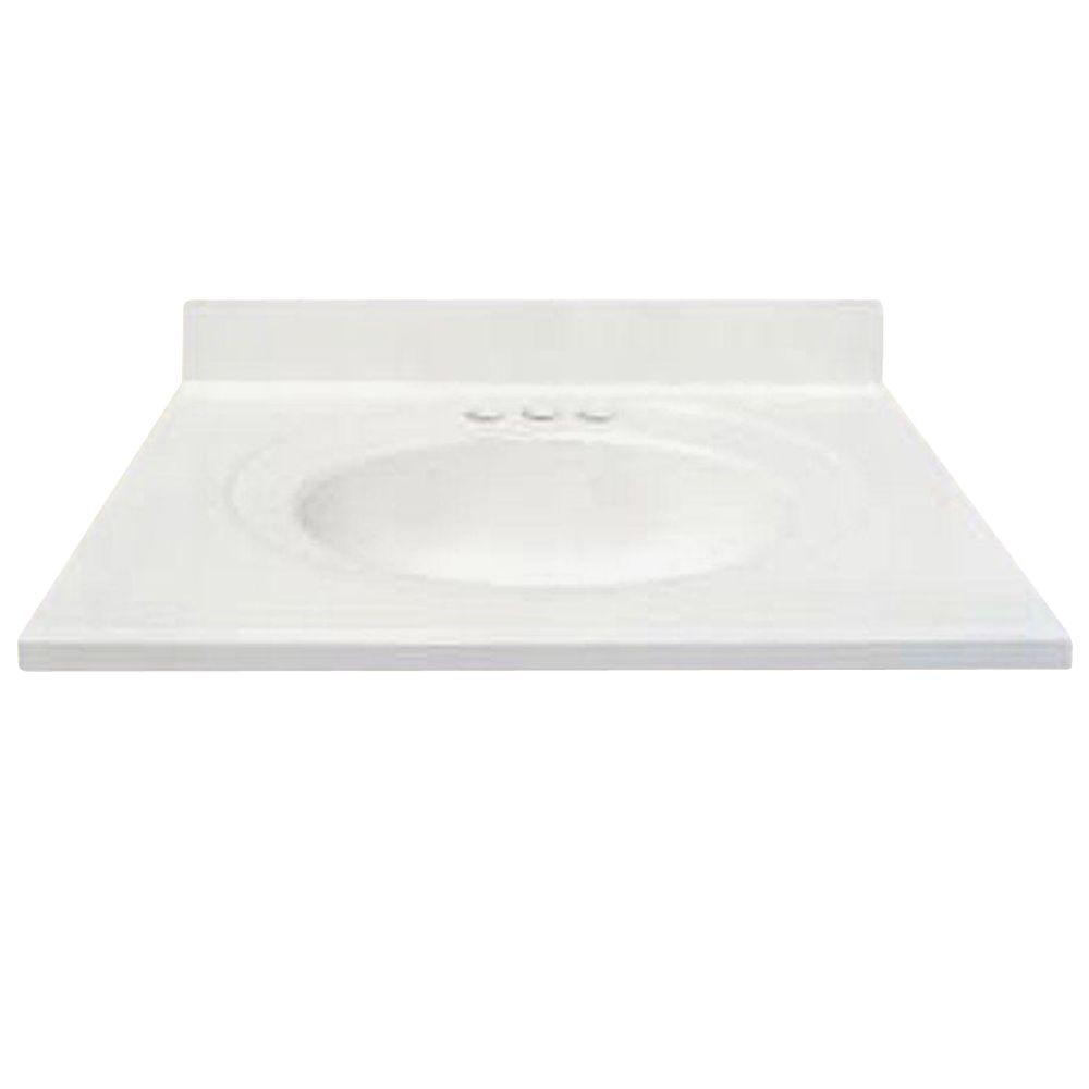 US Marble 49 In. Cultured Granite Vanity Top In White