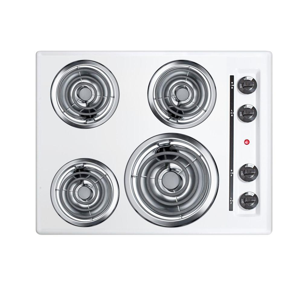 Summit 24 in. Coil Electric Cooktop in White with 4 Elements
