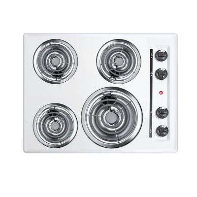 24 in. Coil Electric Cooktop in White with 4 Elements
