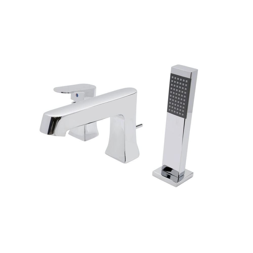 ANZZI Rin Series Single-Handle Deck-Mount Roman Tub Faucet with ...