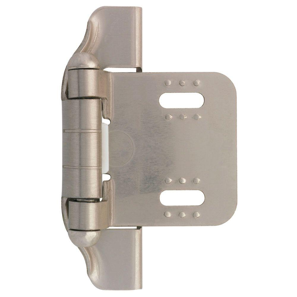 Liberty Satin Nickel Semi-Wrap 1/4 in. Overlay Cabinet Hinge (1-Pair)