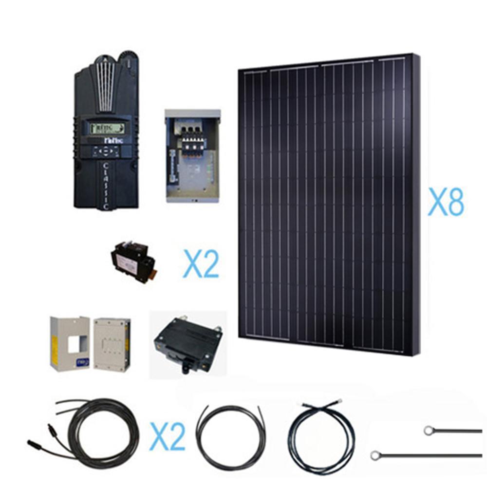 2000-Watt 24-Volt Monocrystalline Solar Cabin Kit for off-grid solar system