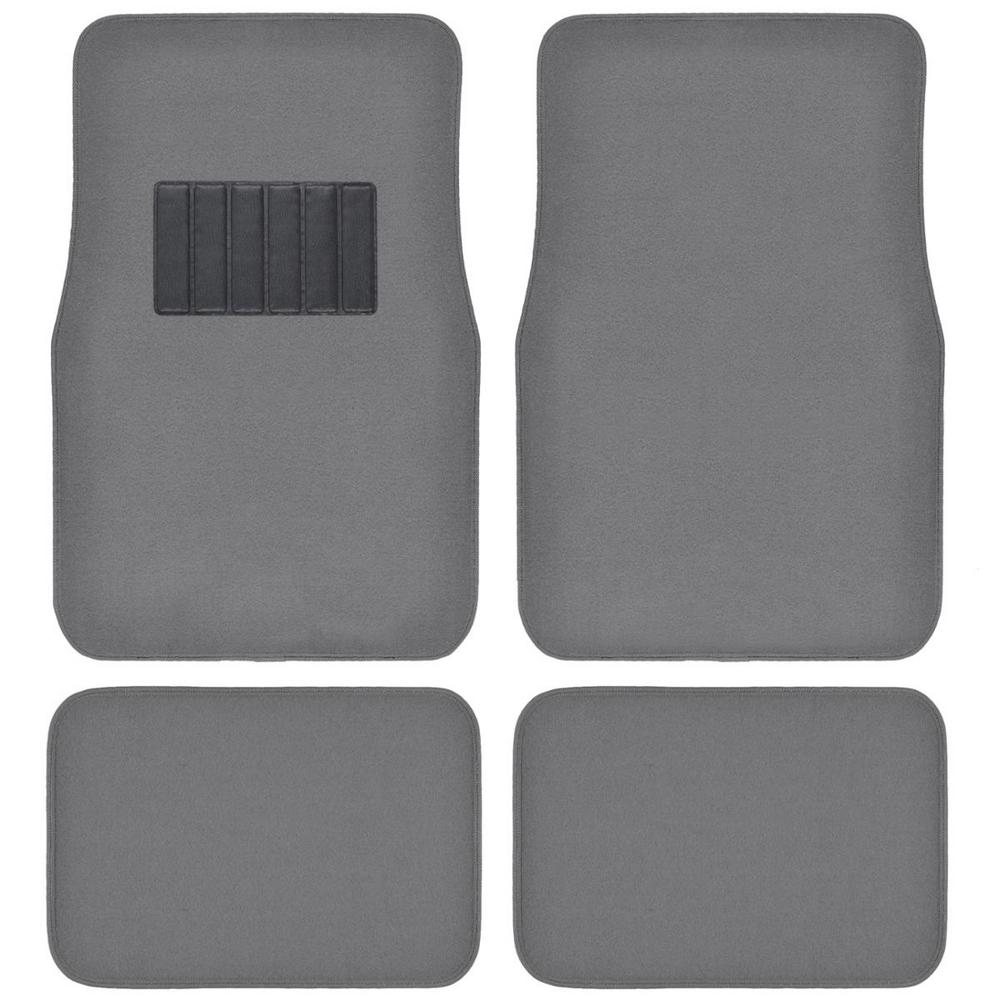 Classic MT-100 Medium Gray Carpet With Rubberized Backing 4-Piece Car Floor
