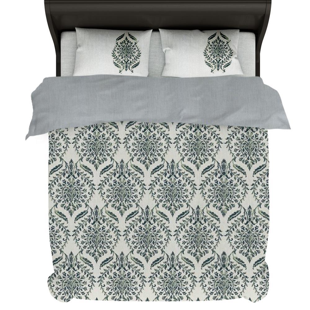 A1HC Trellis 6-Piece Green Reversible Print 100% Organic Cotton Wrinkle Resistant Queen Home Bundle
