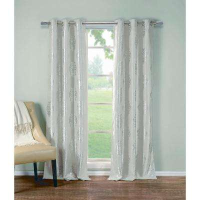 Floral Taupe Polyester Blackout Grommet Window Curtain 36 in. W x 84 in. L (2-Pack)
