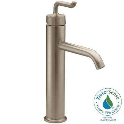 Purist Tall Single Hole Single Handle Bathroom Vessel Sink Faucet with Smile Design Handle in Vibrant Brushed Bronze