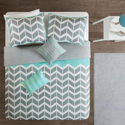 Laila 4-Piece Teal Twin/Twin XL Geometric Duvet Cover Set