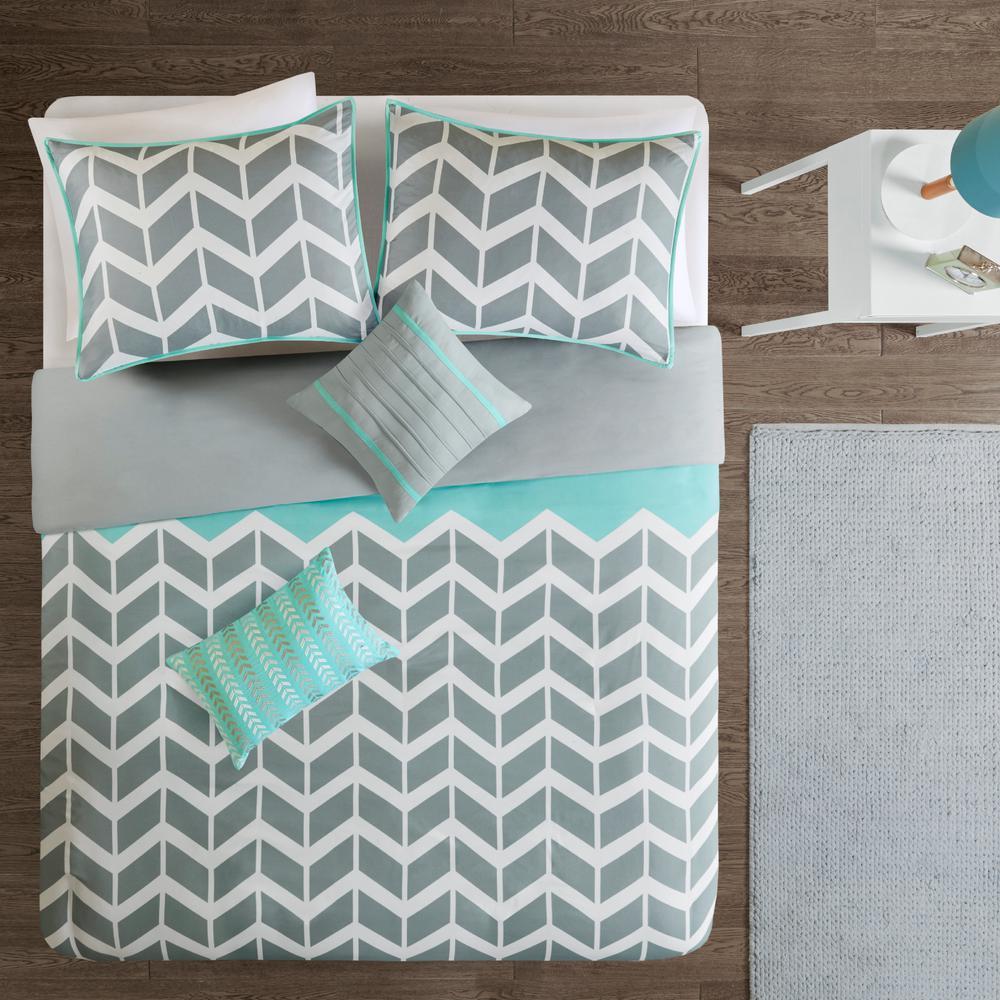 Laila 5-Piece Teal Full/Queen Geometric Duvet Cover Set