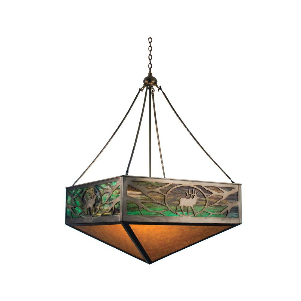 Illumine 6 Light Lone Elk Inverted Pendant Antique Copper Finish Mica Glass