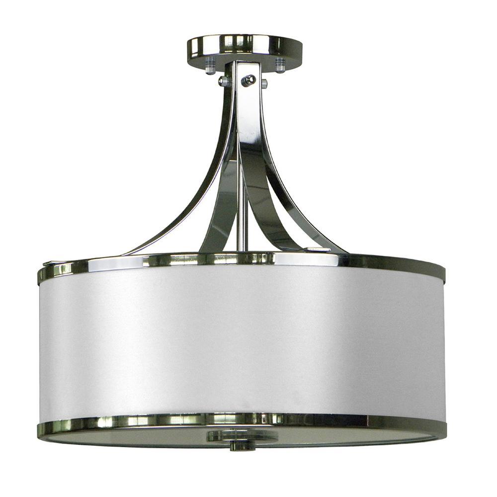 3-Light Chrome Semi-Flushmount