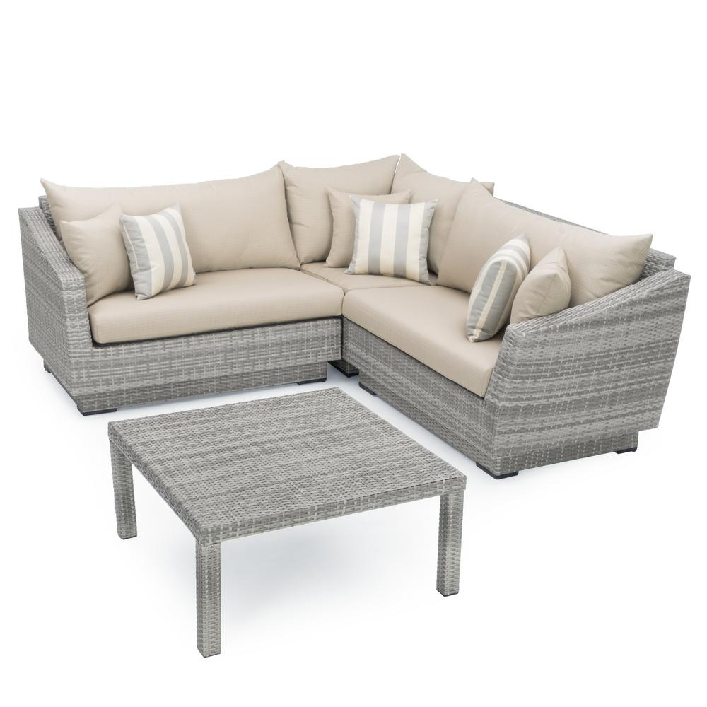 RST Brands Cannes 4-Piece Patio Sectional Seating Set with Slate Grey Cushions
