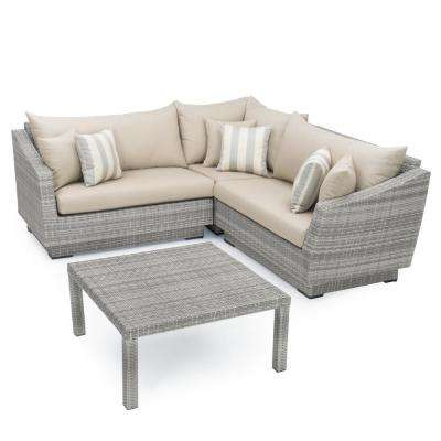 Cannes 4-Piece Patio Sectional Seating Set with Slate Grey Cushions