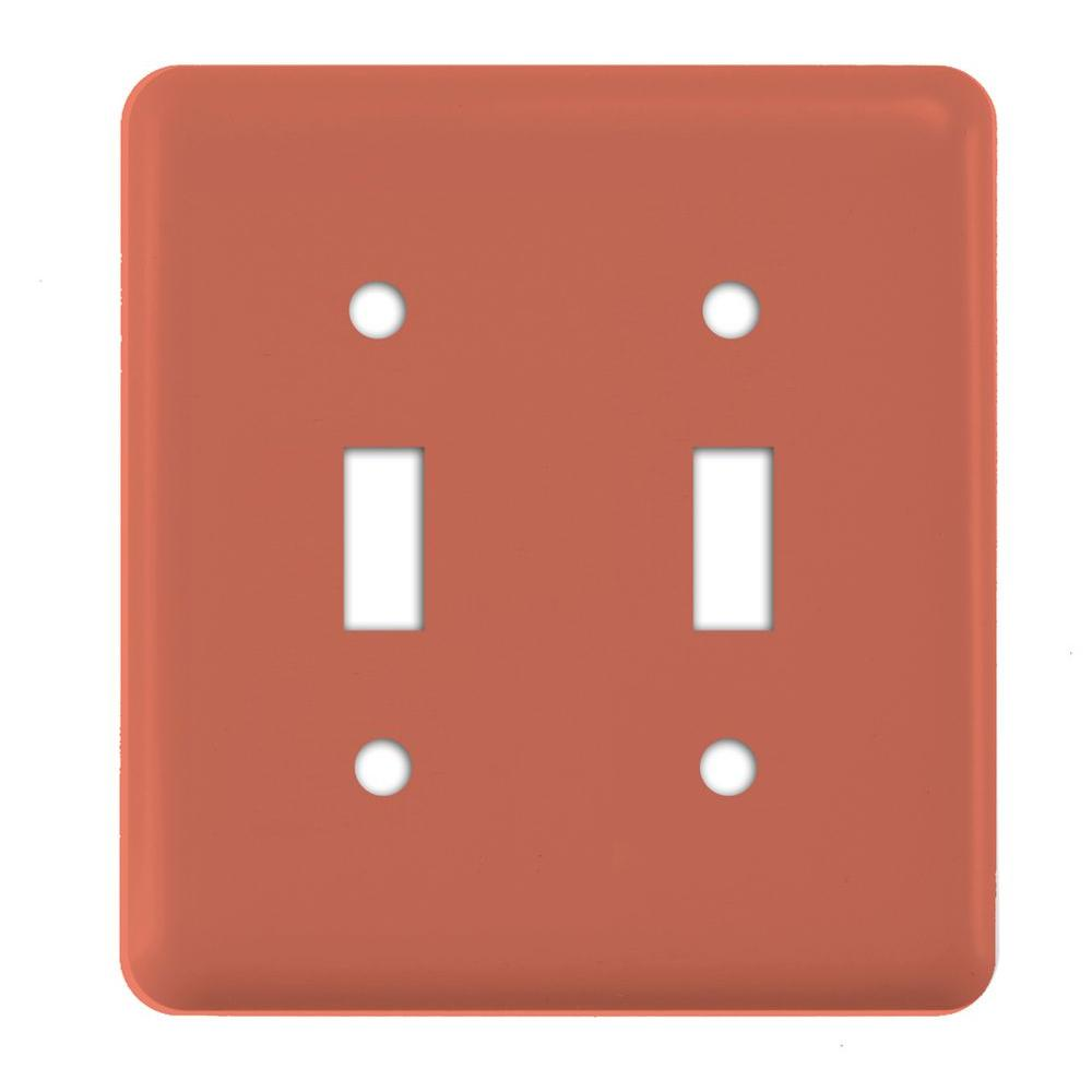 Amerelle Steel 2 Gang Toggle Wall Plate - Coral