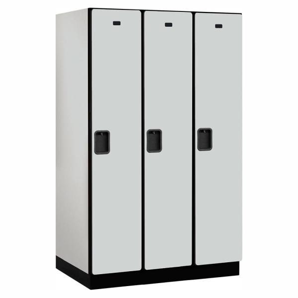 21000 Series Single Tier 24 in. D 3 Compartments Extra Wide Designer Wood Locker in Gray