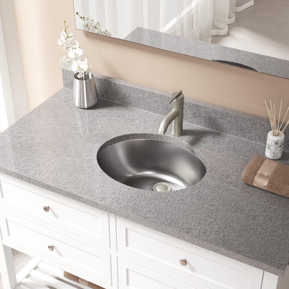 Dual-Mount Bathroom Sink in Stainless Steel with Pop-Up Drain in Brushed Nickel