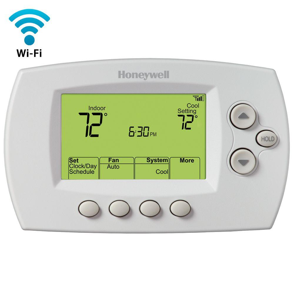 whites honeywell programmable thermostats rth6580wf 64_1000 honeywell thermostats heating, venting & cooling the home depot honeywell rth110b wiring diagram at bayanpartner.co