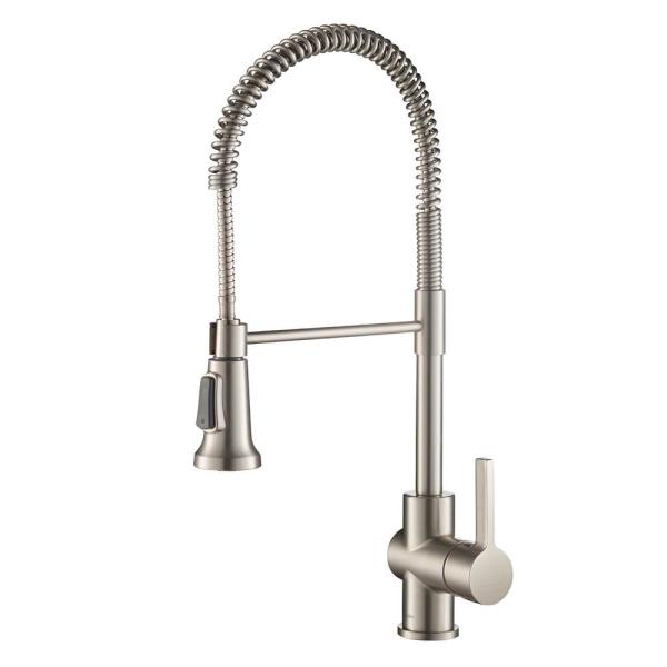 Britt Single Handle Commercial Kitchen Faucet with Dual Function Sprayhead in all-Brite Spot Free Stainless Steel Finish