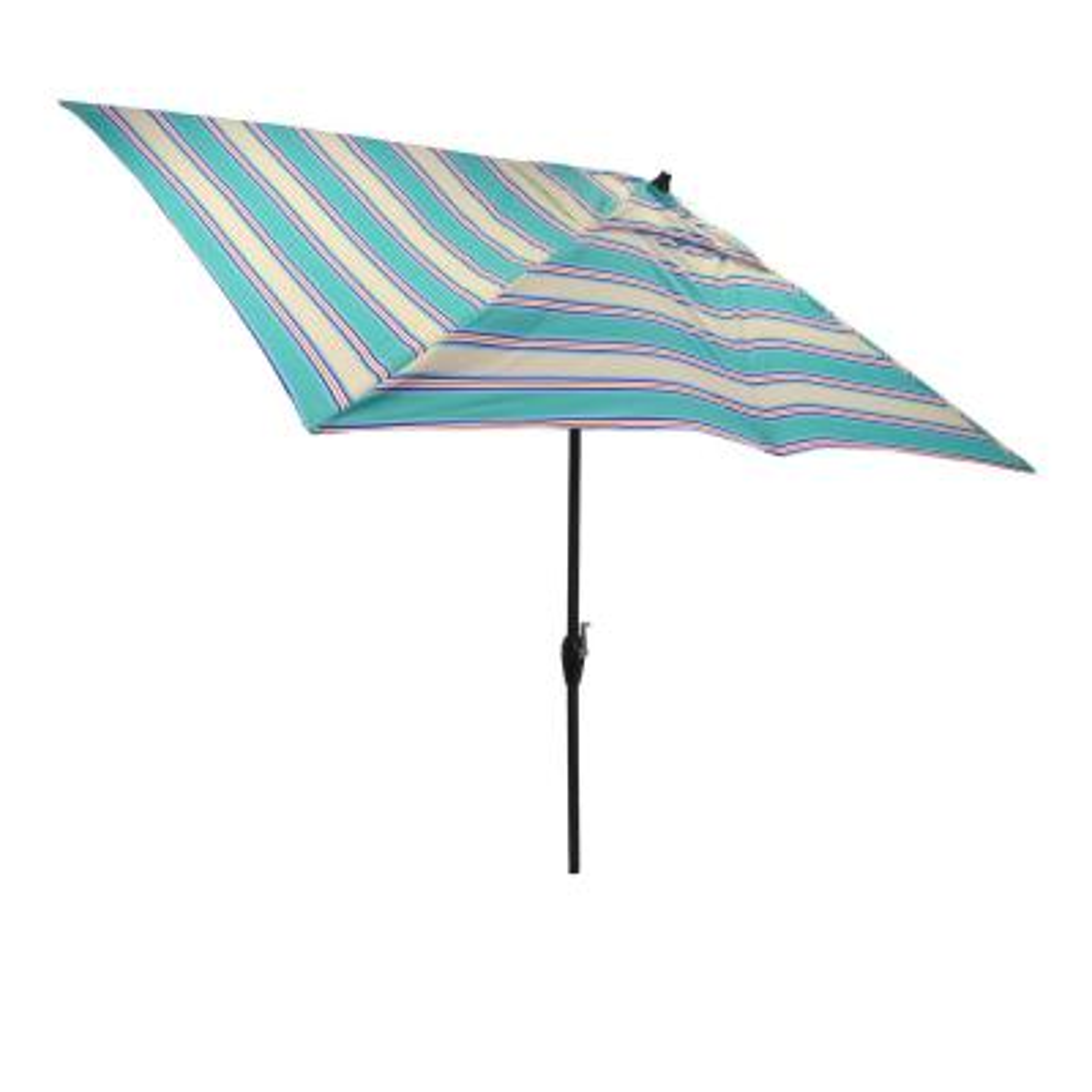 10 ft. x 6 ft. Aluminum Market Patio Umbrella in Seaglass Stripe with Push-Button Tilt