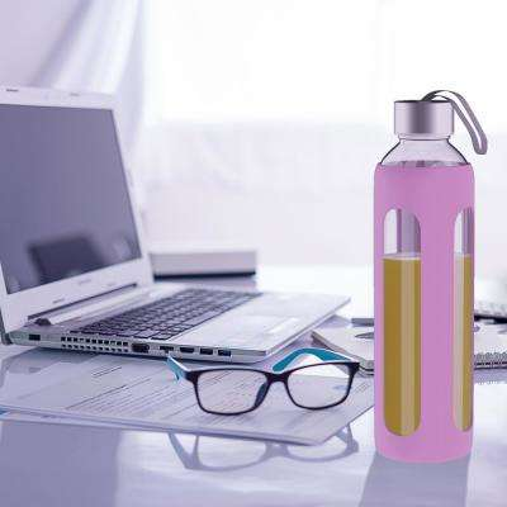 20 oz. Pink BPA Free Glass Water Bottle