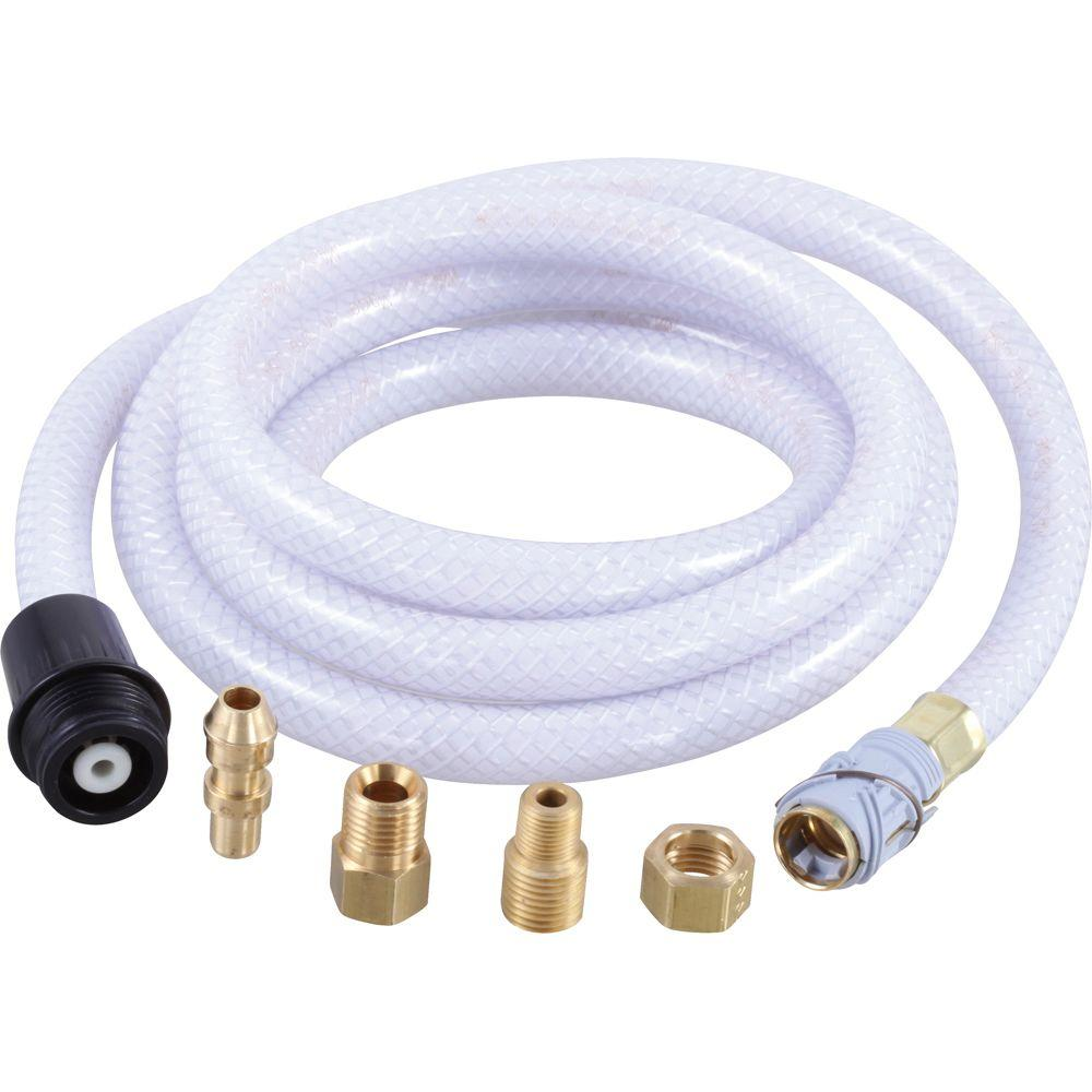 Quick-Connect Vegetable Spray Hose Assembly with Black Ferrule in White
