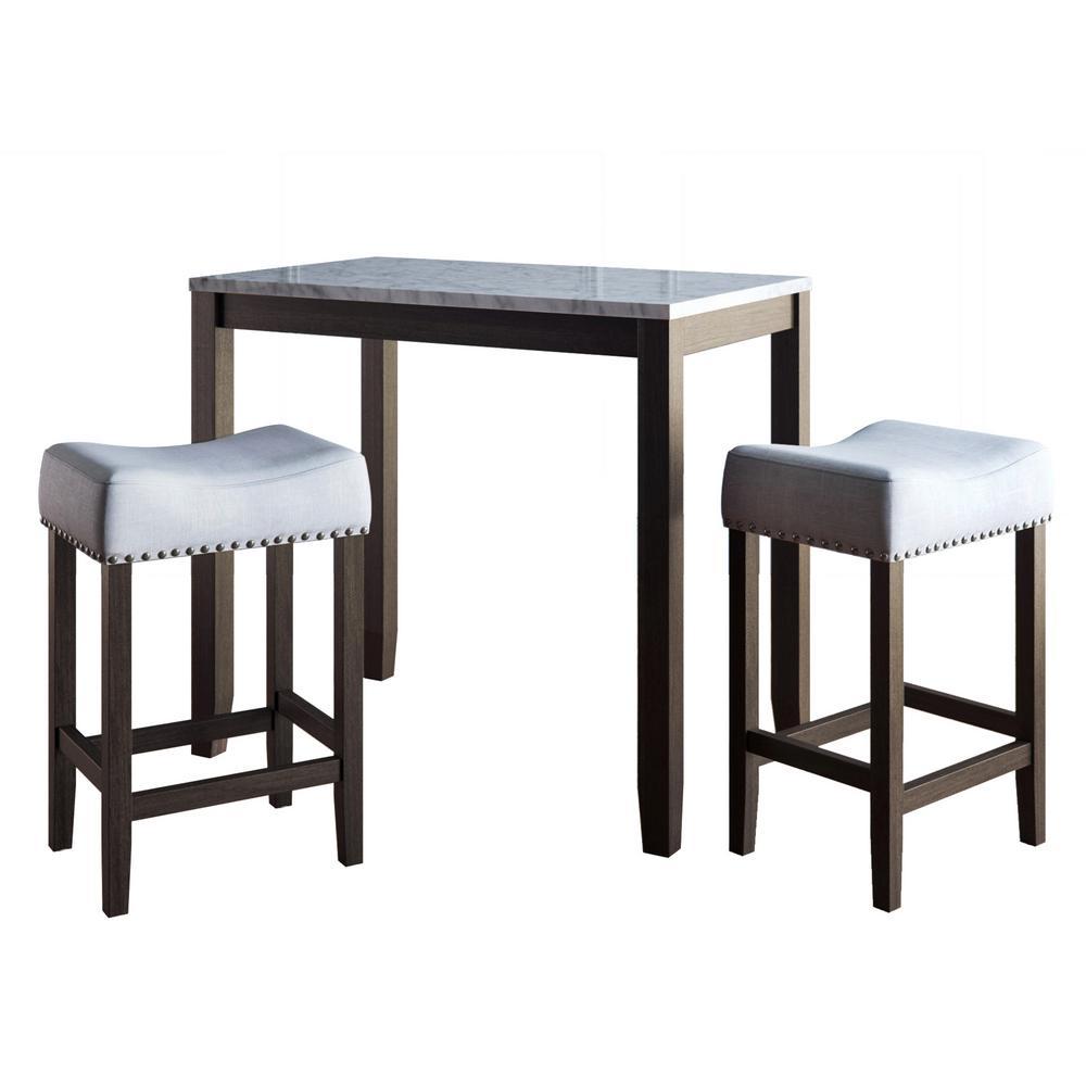 Viktor 3-Piece White and Dark Brown Pub Table Set