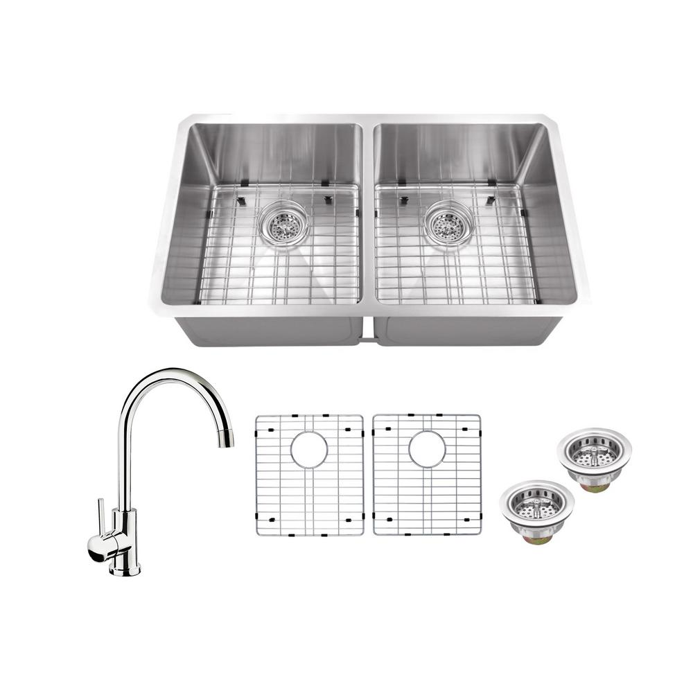 All-in-One Undermount Stainless Steel 32 in. 50/50 Double Bowl Kitchen Sink