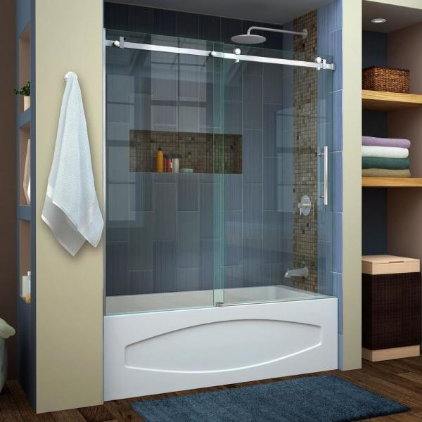 Enigma Air 56 in. to 60 in. x 62 in. Frameless Sliding Tub Door in Brushed Stainless Steel