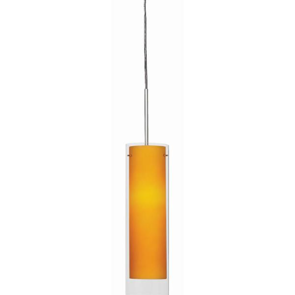 Afx View 10 Watt Integrated Led Satin Nickel Pendant With Glass Shade Vip1000l40d1snam The Home Depot