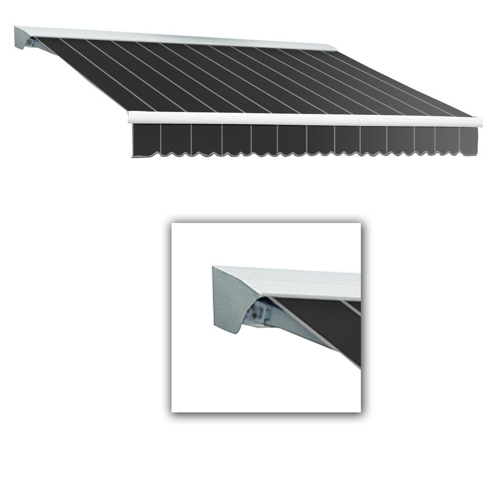 AWNTECH 8 ft. LX-Destin with Hood Right Motor/Remote Retractable Awning (84 in. Projection) in Gun Pin