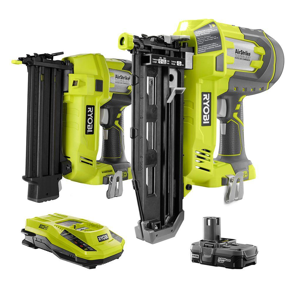 Ryobi 18-Volt ONE+ AirStrike Brad Nailer and Straight Nailer Combo ...