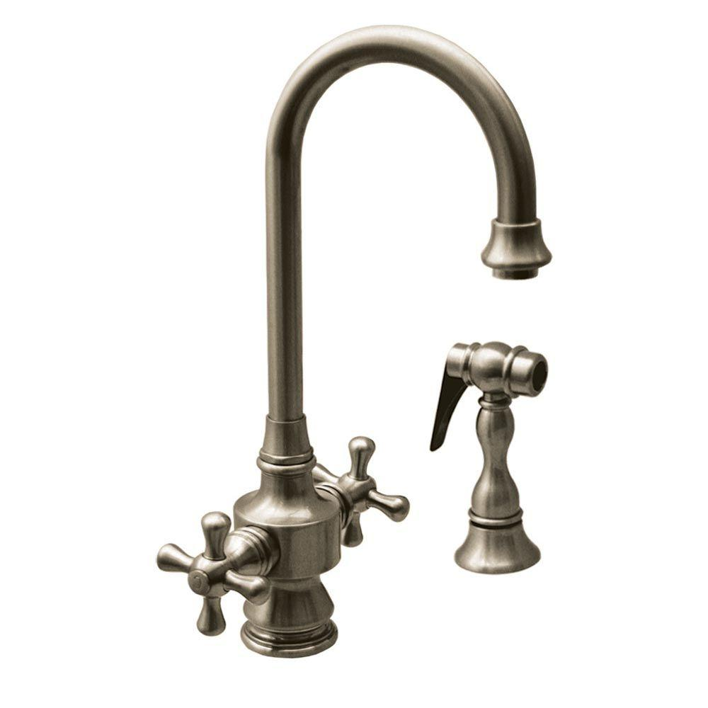 Whitehaus Collection Vintage III 2-Handle Side Sprayer Kitchen Faucet in Brushed Nickel