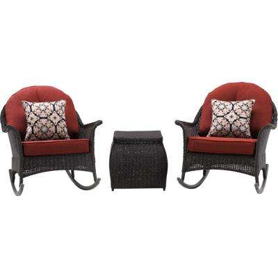 Saros 3-Piece Rocking Steel Outdoor Patio Conversation Set with Red Cushions