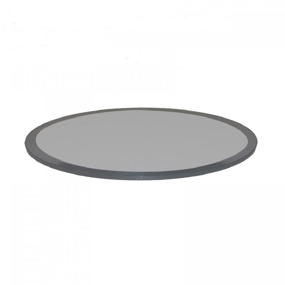 42 in. Round 1/2 in. Thick Beveled Tempered Grey Glass Table