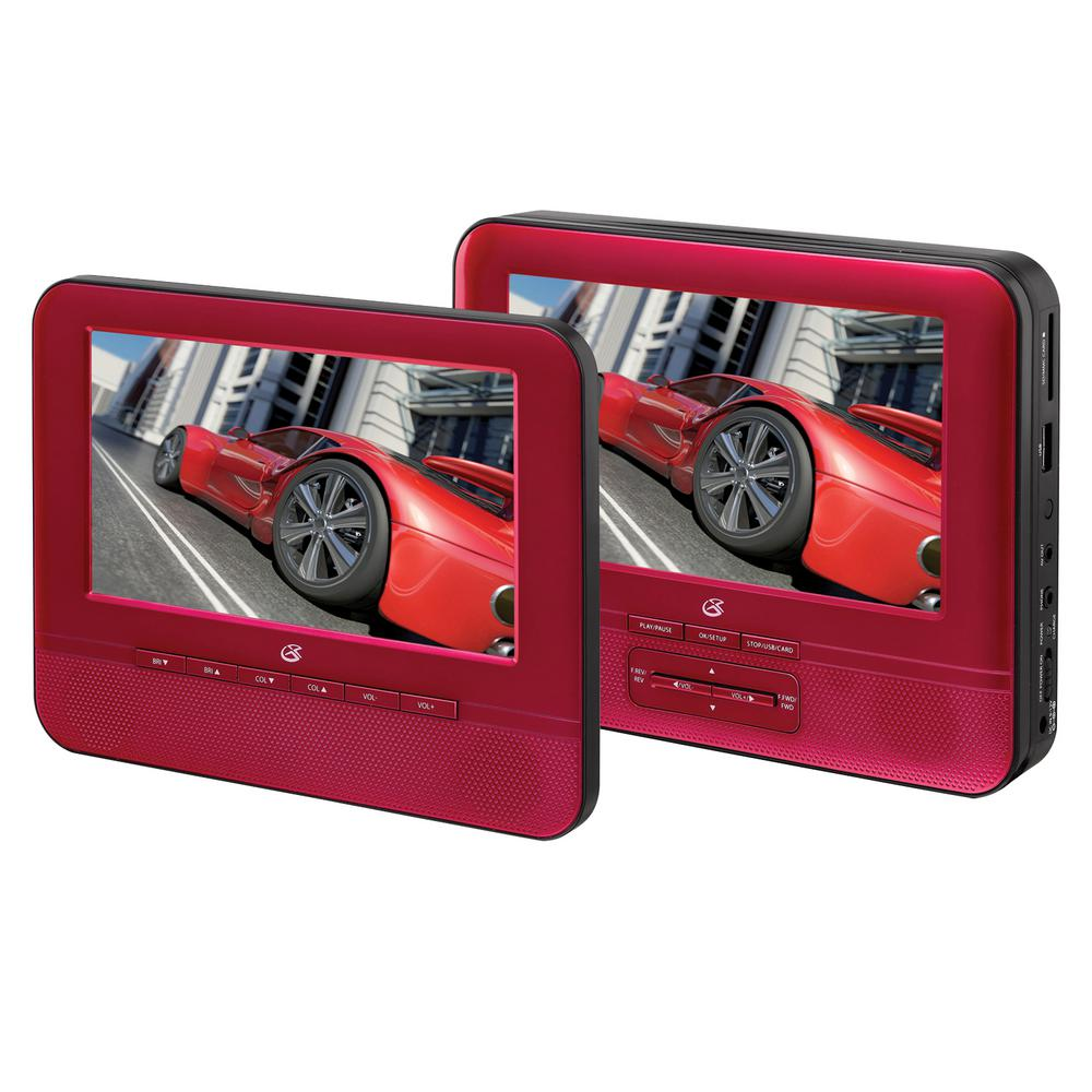 Gpx 7 in. Dual Screen Portable DVD Player, Red