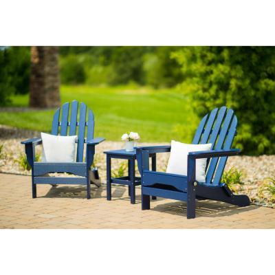 Icon Navy Recycled Plastic Folding Adirondack Chair with Side Table (2-Pack)