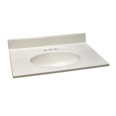 31 in. W x 22 in. D Cultured Marble Vanity Top in White with White on White Bowl