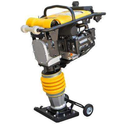 6.5 HP 4-Stroke Gas Impact Jumping Jack Tamping Rammer Vibratory Asphalt/Soil Plate Compactor with Wheel Kit