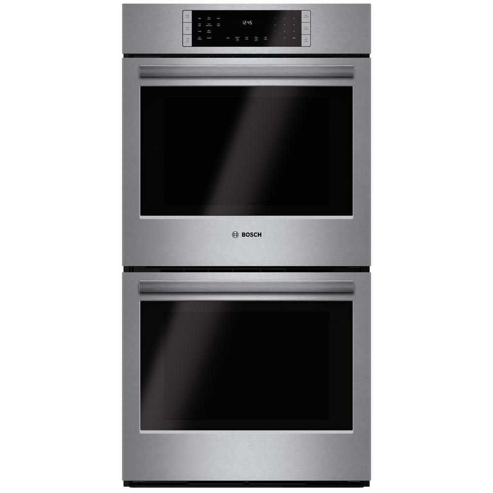 Bosch 800 Series 27 In Double Electric Wall Oven With European Convection Self Cleaning Stainless