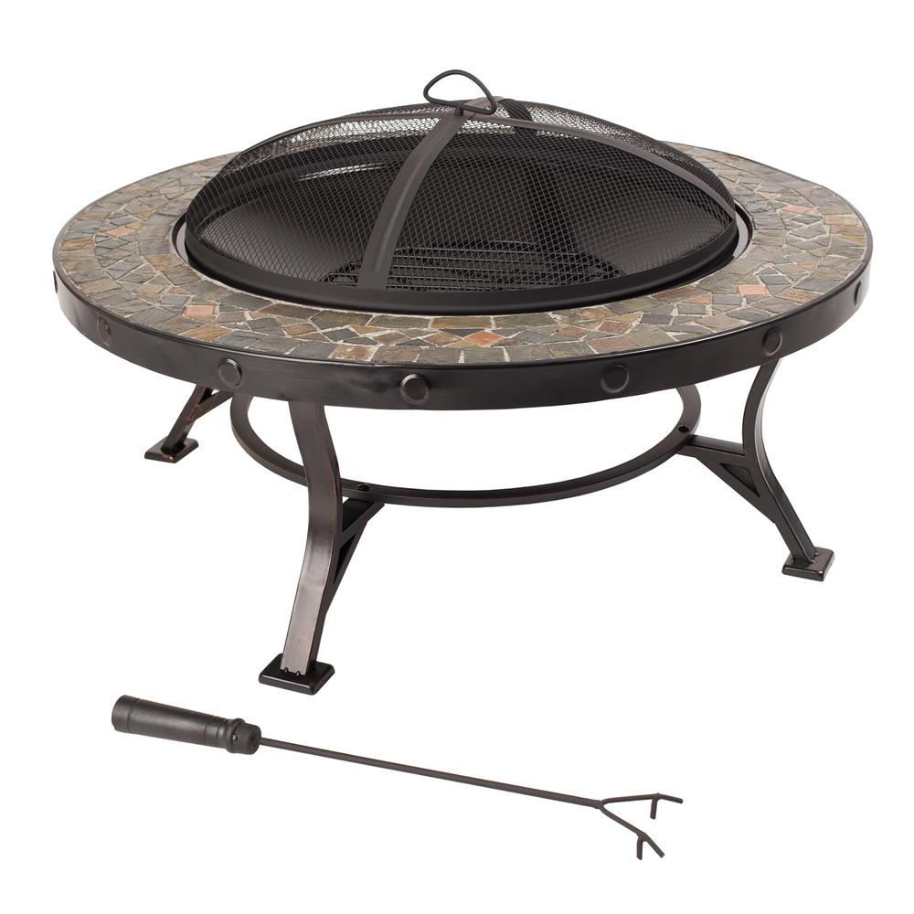 Pleasant Hearth Charlotte 34 in. x 20 in. Round Steel Wood Fire Pit in Slate with Cooking Grid