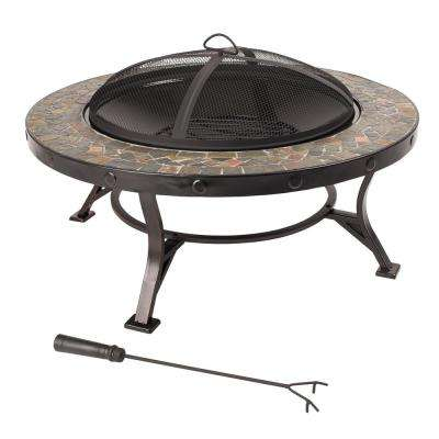 Charlotte 34 in. Fire Pit in Slate with Cooking Grid