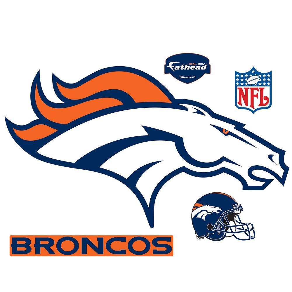32 in. H x 54 in W Denver Broncos Logo Wall Mural