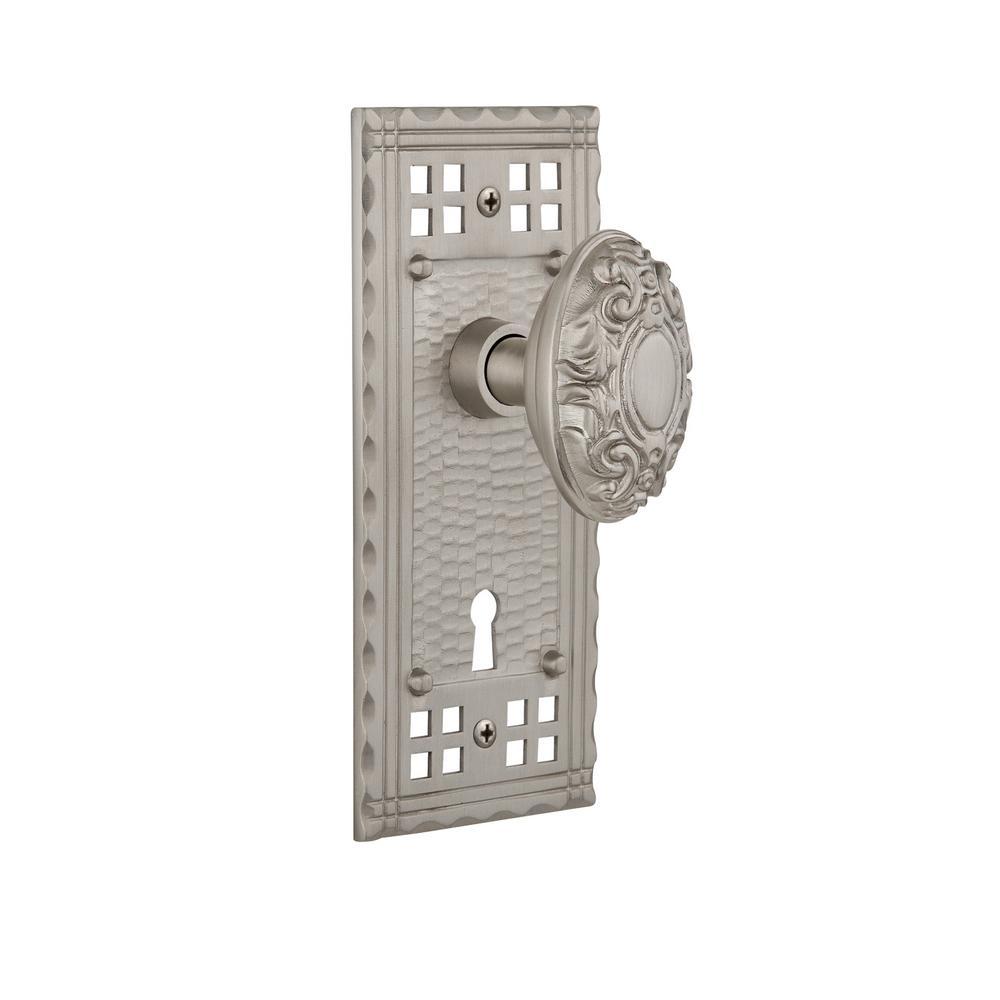 Craftsman Plate with Keyhole Single Dummy Victorian Door Knob in Satin Nickel